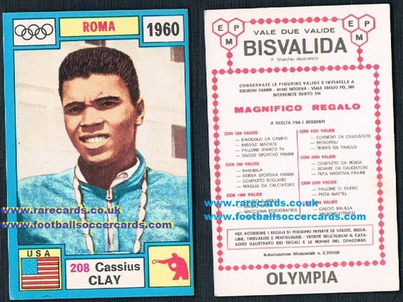 Muhammad Ali Amazing condition unused premium prize Bisvalida card Panini 208 Cassius Clay